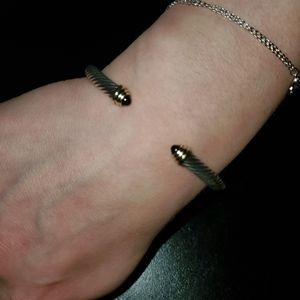 David yurman silver/14k black onyx bracelet